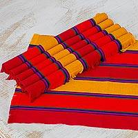 Cotton placemats, 'Country Sunset' (set of 6) - Six Handwoven Striped Cotton Placemats from Guatemala