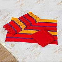 Cotton placemats and napkins, 'Country Sunset' (set of 6) - Set of 6 Striped Cotton Placemats and Napkins from Guatemala