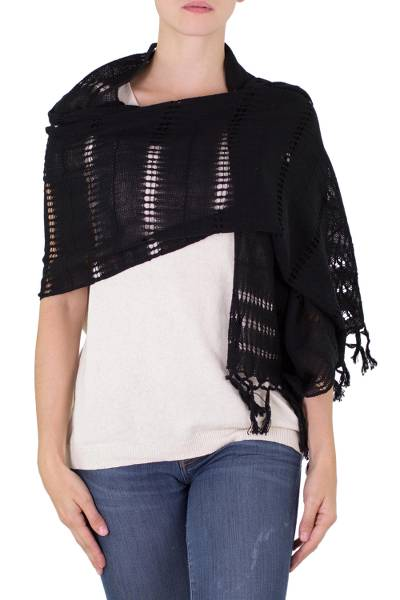 Cotton shawl, 'Shaded Beauty in Black' - Handwoven Fringed Cotton Shawl in Black from Nicaragua