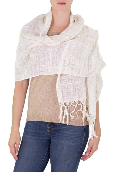 Cotton shawl, 'Beige Embrace' - Handwoven Fringed Cotton Shawl in Beige from Nicaragua