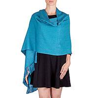 Cotton shawl, 'Rushing Winds' - Cotton Shawl in Turquoise and Violet from Guatemala