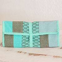Cotton jewelry roll, 'Pastel Green Beauty' - Handwoven Cotton Jewelry Roll in Pastel Green from Guatemala