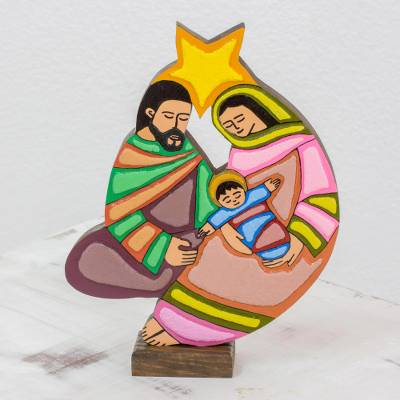 Wood nativity sculpture, 'Birth, Life and Love' - Hand Painted Wood Nativity Scene Sculpture