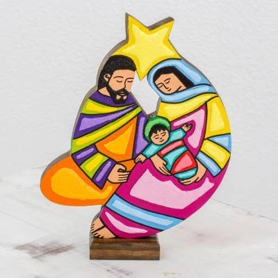 Wood nativity sculpture, 'Birth, Light and Hope' - Folk Art Wood Nativity Sculpture from El Salvador