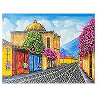 'School of Christ Church Barrio' - Signed  Painting of a Guatemalan Street in Jewel Colors