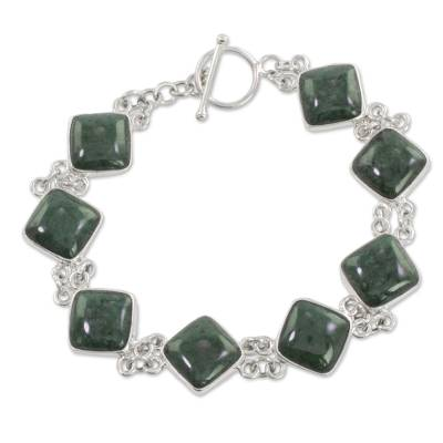 Green Jade and Sterling Silver Bracelet from Guatemala