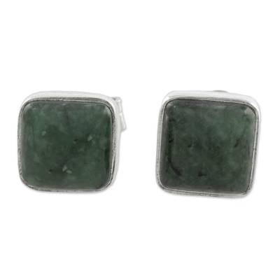 Jade and Sterling Silver Square Earrings from Guatemala