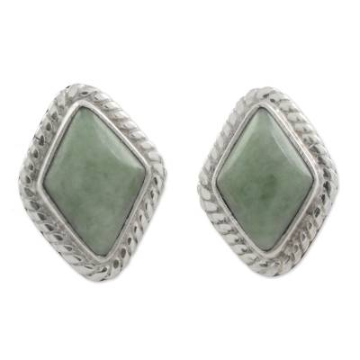 Light Green Jade Rhombus Stud Earrings from Guatemala