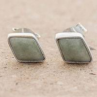 Jade stud earrings, 'Mayan Elegance in Light Green' - 925 Silver Light Green Jade Rhombus Earrings from Guatemala