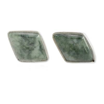 Green Jade and 925 Silver Rhombus Earrings from Guatemala