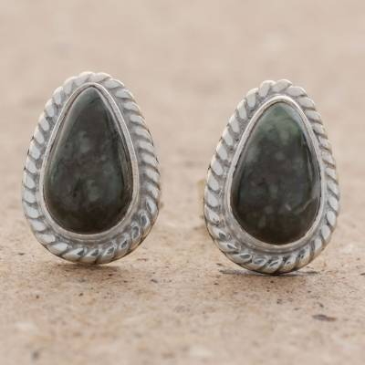 Jade stud earrings, 'Teardrop Lassos' - Green Jade and 925 Silver Teardrop Earrings from Guatemala