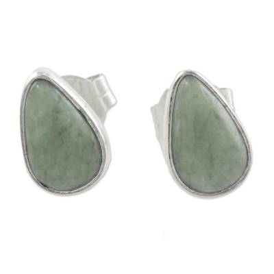 Light Green Jade Teardrop Stud Earrings from Guatemala