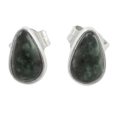 Green Jade and 925 Silver Teardrop Earrings from Guatemala