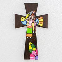 Wood wall cross, 'Familial Union' - Handcrafted Painted Wood Wall Cross from El Salvador