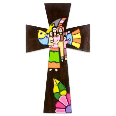 Handcrafted Painted Wood Wall Cross from El Salvador
