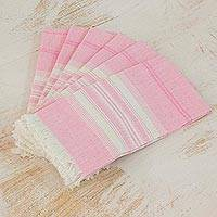 Cotton napkins, 'Rosy Inspiration' (set of 6) - Pink Striped 100% Cotton Napkins from Guatemala (Set of 6)
