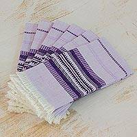 Cotton napkins, 'Cheerful Kitchen in Purple' (set of 6) - Purple Striped 100% Cotton Napkins (Set of 6)