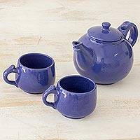 Ceramic tea set, 'Love in Each Sip' (set for 2) - Handcrafted Blue Ceramic Tea Set from El Salvador