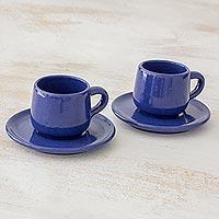 Ceramic demitasse cups and saucers, 'Love in Each Sip' (pair) (El Salvador)