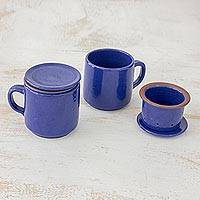 Ceramic tea cups and infusers, 'Love in Each Sip' (pair) - Pair of Blue Ceramic Tea Cups and Infusers from El Salvador