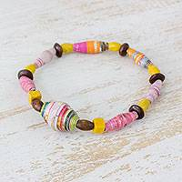 Wood and recycled paper beaded stretch bracelet, 'Feminine Colors' - Pinewood and Recycled Paper Beaded Bracelet from Guatemala