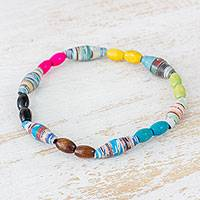 Pinewood and recycled paper beaded bracelet, 'Artistic Soul' - Guatemalan Multicolored Pinewood and Recycled Paper Bracelet