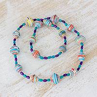 Pinewood and recycled paper beaded necklace, 'Blue-Violet Sea' - Pinewood and Recycled Paper Necklace in Blue from Guatemala