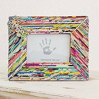 Recycled paper photo frame, 'Colors of Memory' - Recycled Paper Horizontal Photo Frame from Guatemala