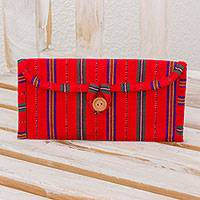 Cotton jewelry case, 'Crimson Lines' - Handwoven Cotton Jewelry Case in Crimson from Guatemala