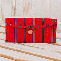 Cotton jewelry case Crimson Lines Guatemala