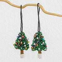 Beadwork ornaments, 'Mini Christmas Tree' (pair) - 2 Artisan Crafted Mini Christmas Tree Beaded Ornaments
