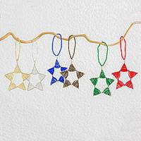 Beadwork ornaments, 'Mini Starlight' (set of 6) - Set of Six Artisan Crafted Beaded Mini Star Ornaments