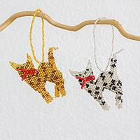 Beadwork ornaments, 'Colorful Kittens' (pair) - Set of 2 Handcrafted Seed Bead Cat Ornaments