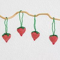 Beadwork ornaments, 'Sweet Strawberries' (set of 4) - Artisan Crafted Beaded Strawberry Ornaments (Set of 4)
