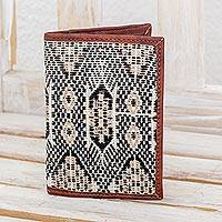 Cotton and leather passport wallet,