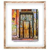 Photo collage, 'House 663A' - Framed 3D Photo Collage of Cuban Door by Guatemalan Artist