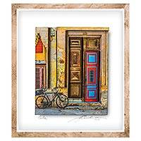 Photo collage, 'Ancient Beauty' - Framed 3D Photo Collage of Cuban Door by Guatemalan Artist
