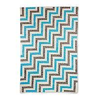 Wool area rug, 'Skyward Stairs' (4x6) - 4x6 Geometric Wool Rug in Sky Blue and Ivory from Guatemala