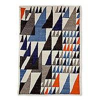 Wool area rug, 'Geometric Elegance' (4x6) - 4x6 Multicolored Triangle Motif Wool Rug from Guatemala