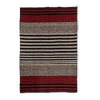 Wool area rug, 'Russet Horizon' (4x6) - 4x6 Striped Wool Rug in Espresso and Russet from Guatemala