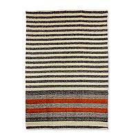 Wool area rug, 'Elegant Lines' (4x6) - 4x6 Handwoven Striped Rectangular Wool Rug from Guatemala
