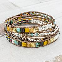 Glass beaded wrap bracelet, 'Distant Lights' - Handcrafted Glass Beaded Wrap Bracelet from Guatemala