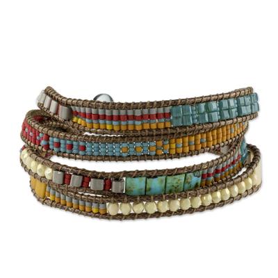 Multi-Strand Glass Beaded Wristband Bracelet from Guatemala