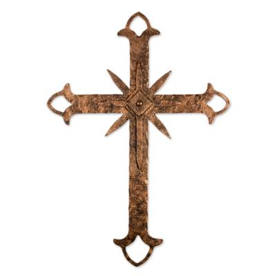 Artisan Crafted Brown Iron Wall Cross from Guatemala