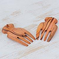 Wood salad servers, 'Homemade Delights' - Handcrafted Jobillo Wood Salad Forks from Guatemala
