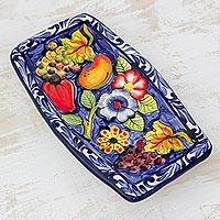 Ceramic tray, 'Colored with Happiness' - Handcrafted Painted Floral Ceramic Tray from El Salvador