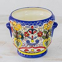 Ceramic vase, 'Classic Garden' - Handcrafted Painted Ceramic Floral Vase from El Salvador