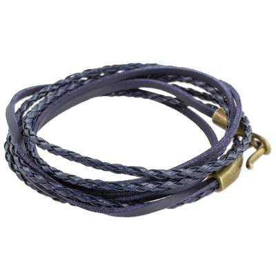 Handcrafted Navy Blue Leather Braided Extra Long Wrap Bracelet
