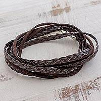 Leather wrap bracelet, 'Elegant Style in Brown' - Braided Leather Wrap Bracelet in Brown from Guatemala