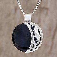 Reversible jade pendant necklace, 'Partial Eclipse' - Reversible Jade Crescent Pendant Necklace Guatemala